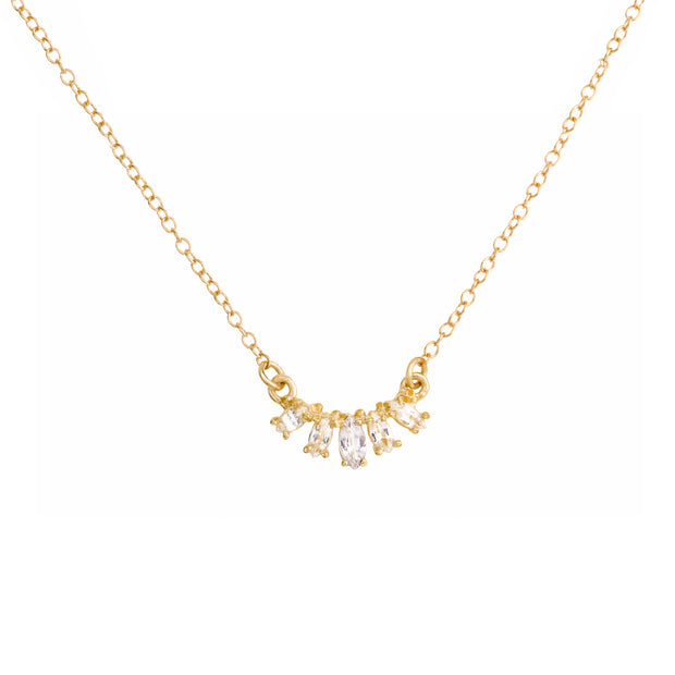 Marquise Curve Necklace - White