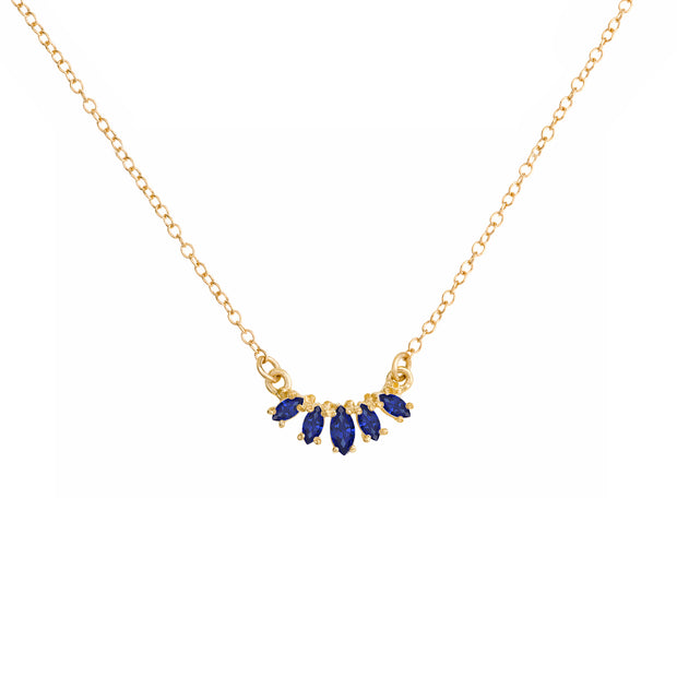 Marquise Curve Necklace - Blue