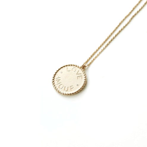 Love/Amour Imperial Disc Pendant Necklace