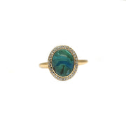 Malachite Azurite Halo Ring