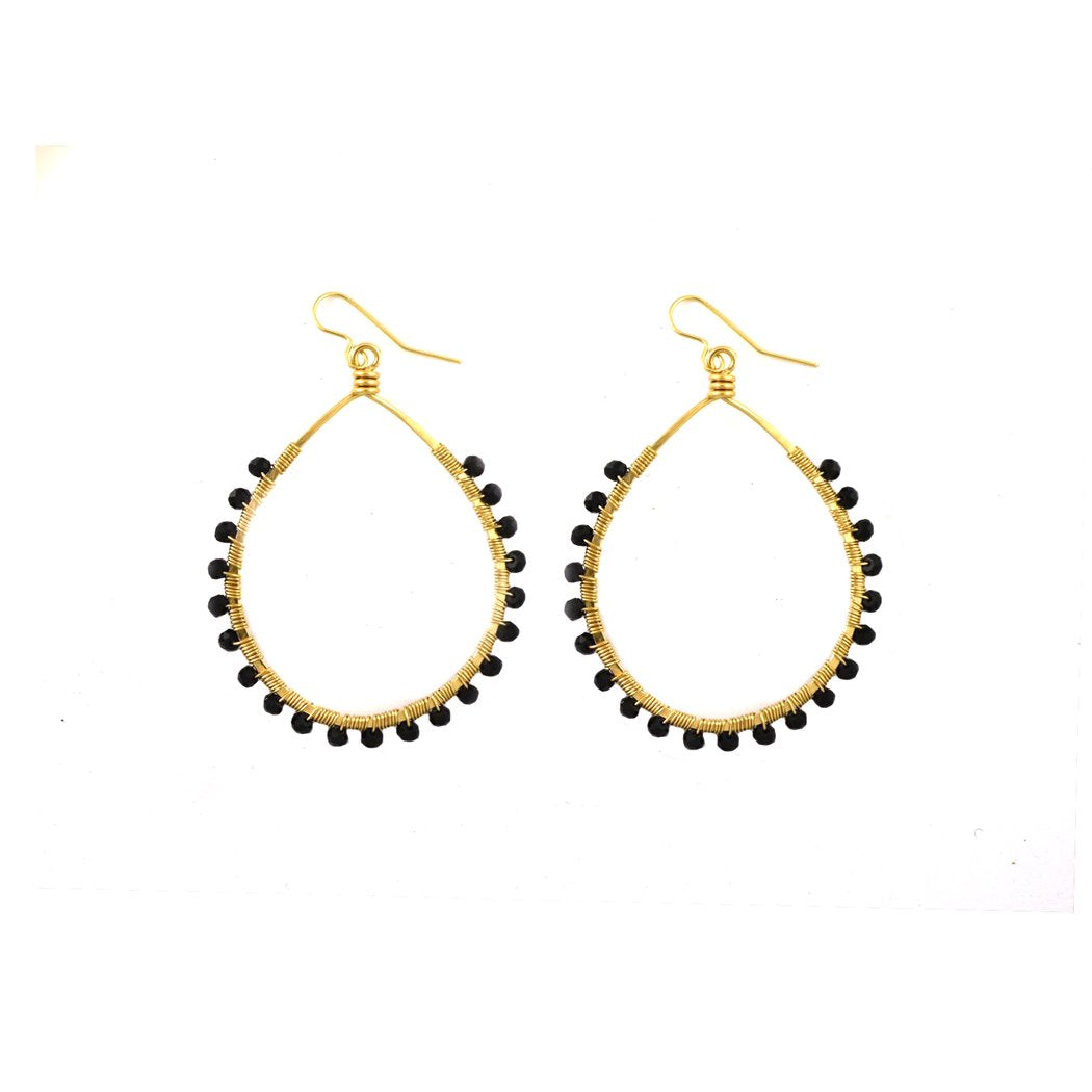 Mini Carlita Hoops - Black Spinel