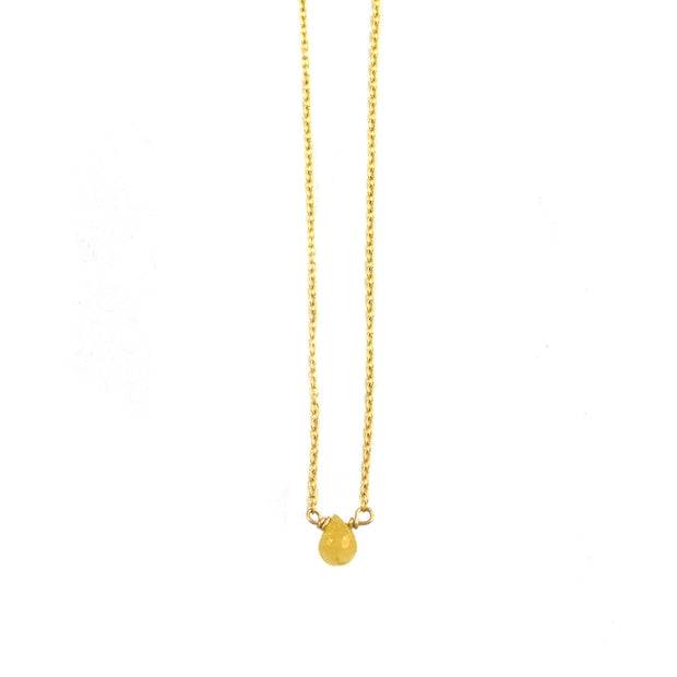 Yellow Sapphire Mini Drop Necklace