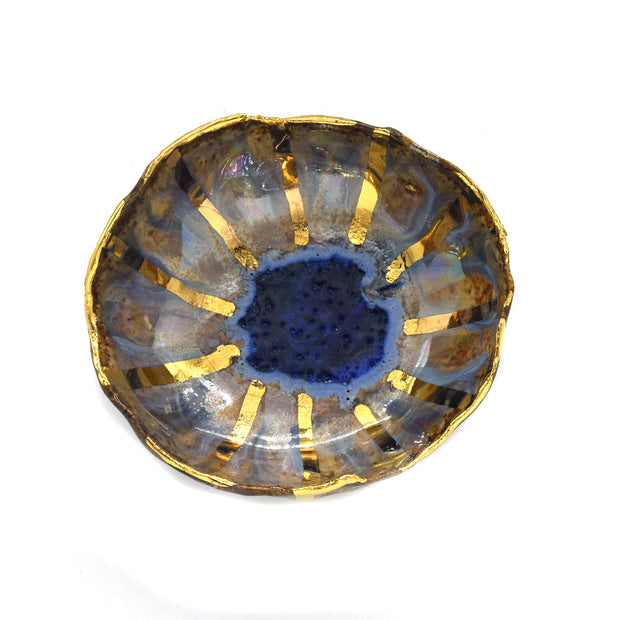 Iceland Dish - Blue Lagoon with Radiating Gold Lines