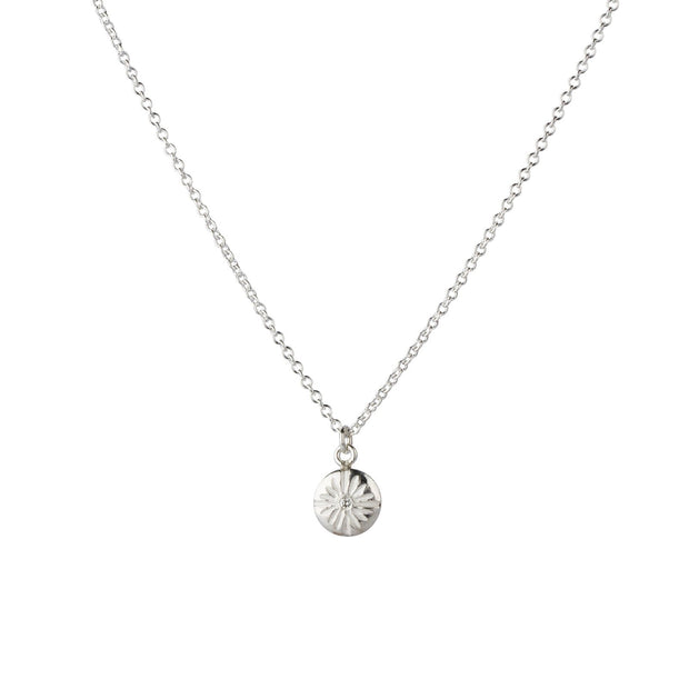 Small Corona Diamond Silver Necklace
