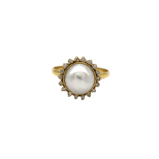 Pearl and Diamond Halo Ring