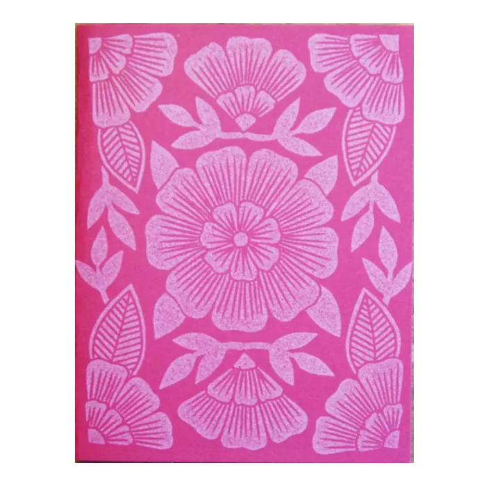 Block Printed Pink Floral Card - Shelter Jewelry Shop DC