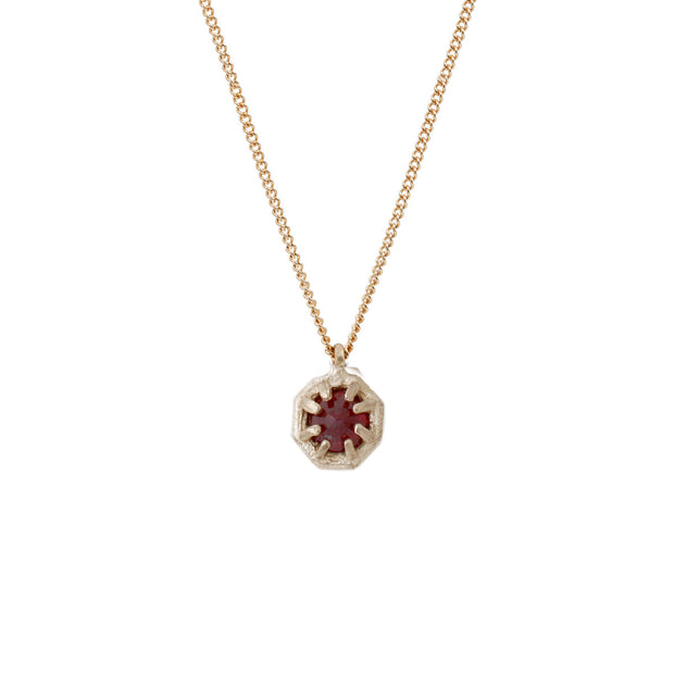 Tiny Gold Octagon Necklace - Ruby