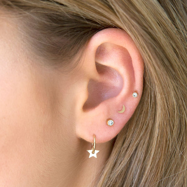 Itty Bitty Crescent Moon Stud - Single
