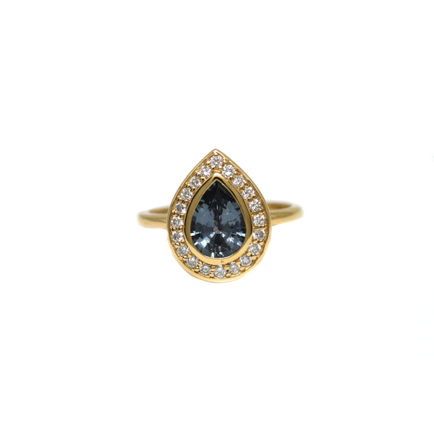Pear Sapphire Halo Ring