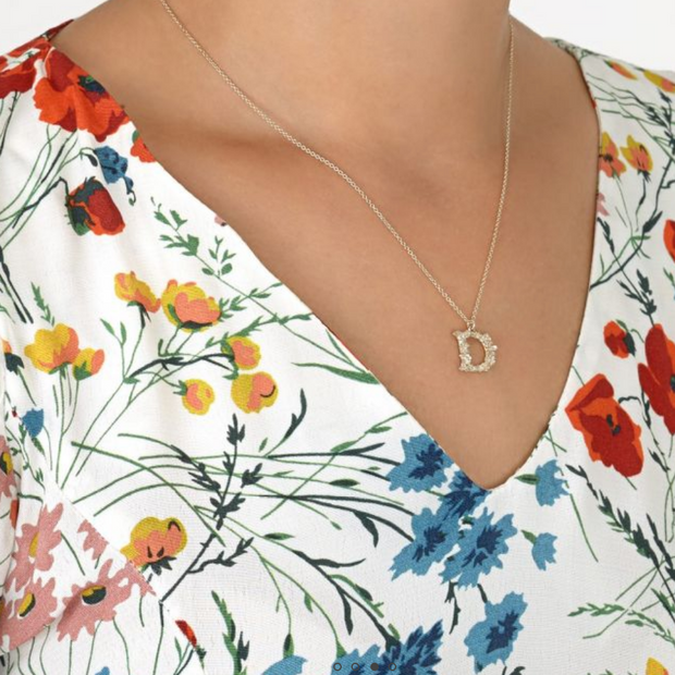 Floral Letter Necklace Sterling Silver