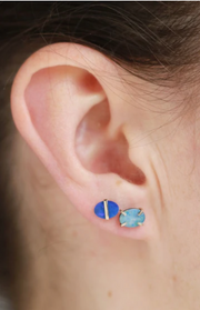 Bezel Wrapped Opal Oval Stud Earrings