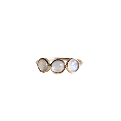Triple Rainbow Moonstone Ring