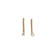 Hammered Line Studs - White Diamonds
