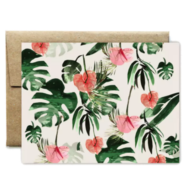 Anthurium Flowers Card - Shelter Jewelry Shop DC