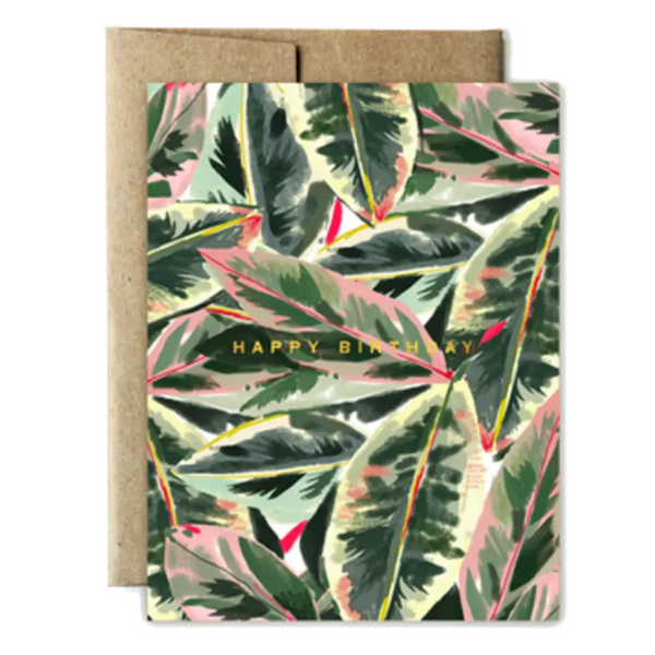 Foil Lush Leaves Birthday Card - Shelter Jewelry Shop DC