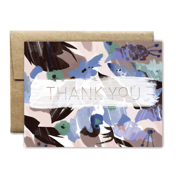 Foil Blue Floral Thank You Card - Shelter Jewelry Shop DC