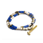 Beaded Wrap Bracelet with Railroad Spike Toggle - Blue