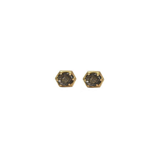 Small Hexagon Studs - Oval Black Rutilated Quartz
