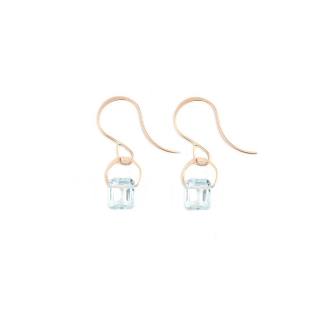 Emerald Cut Aquamarine Earrings - Shelter Jewelry Shop DC