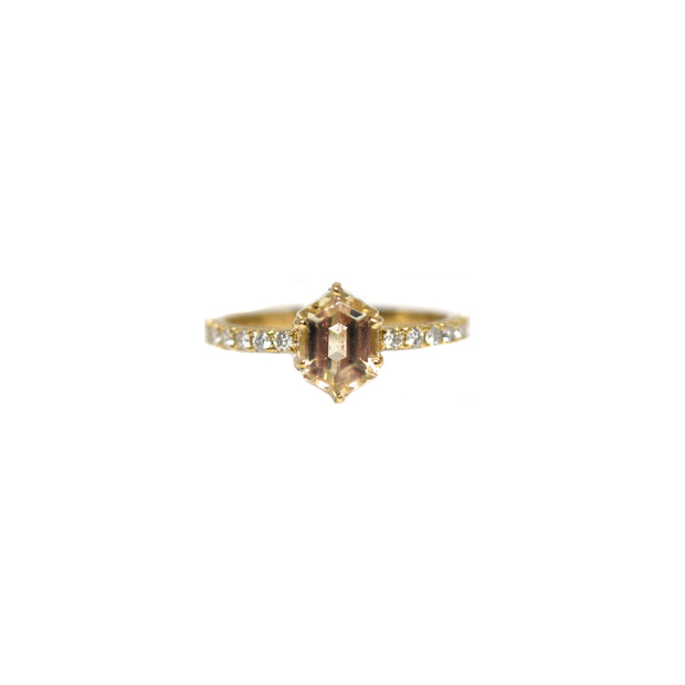 Sunstone Pave Ring