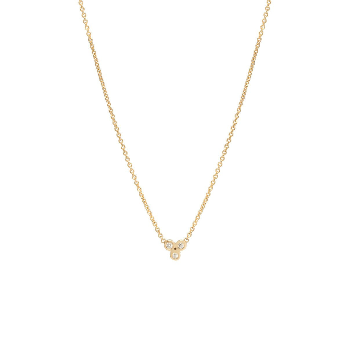 Tiny Bezel Diamond Trio Necklace