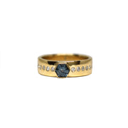 Hexagon Sapphire Wide Band Ring