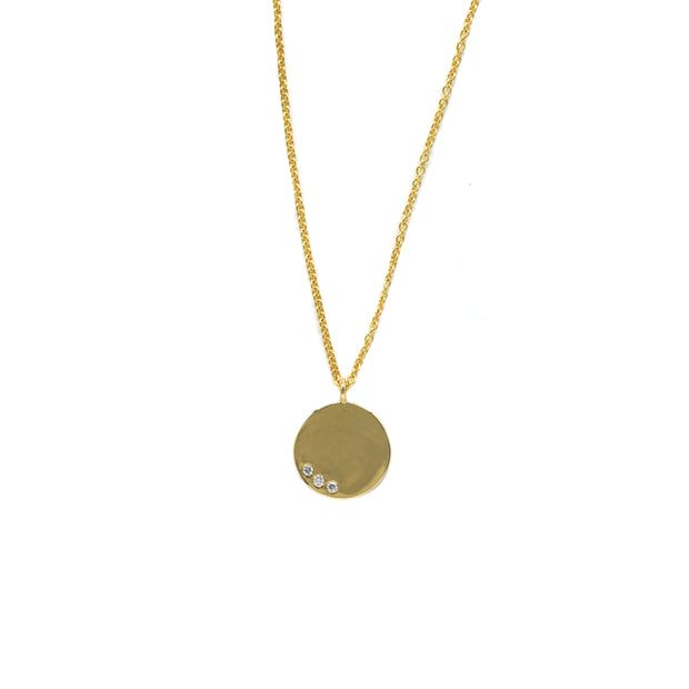 Three Diamond Disc Necklace