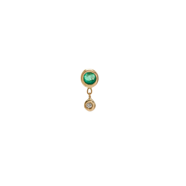 Bezel Stud with Emerald - Single