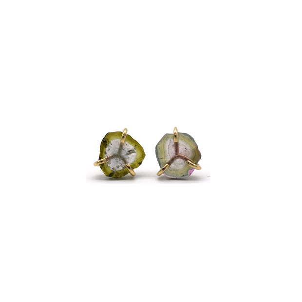 Watermelon Tourmaline Prong Studs
