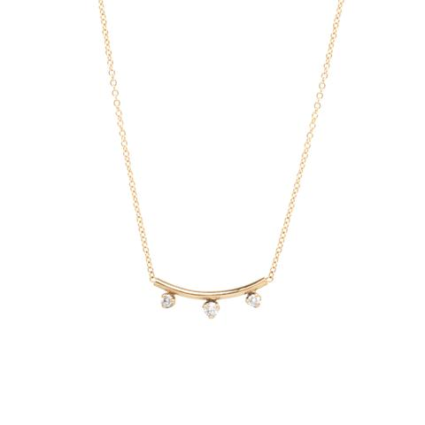 3 Prong Diamond Curved Bar Necklace