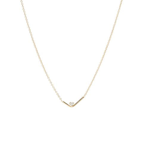 Check Mark Bar Prong Diamond Necklace