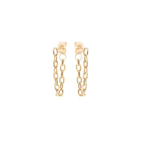 Small Square Oval Link Chain Hoop Earrings