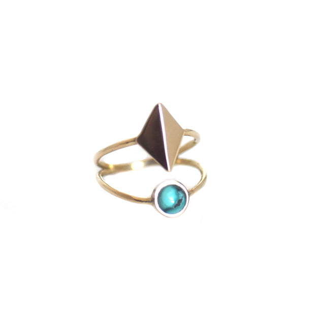 Dia Ring - Brass + Turquoise