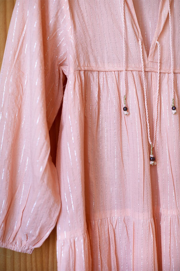 Heirloom Dress - Peach Silver Lurex