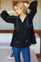 Emerson Fry Bardot Top Embroidered Black