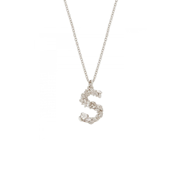 Floral Letter Necklace - Sterling Silver
