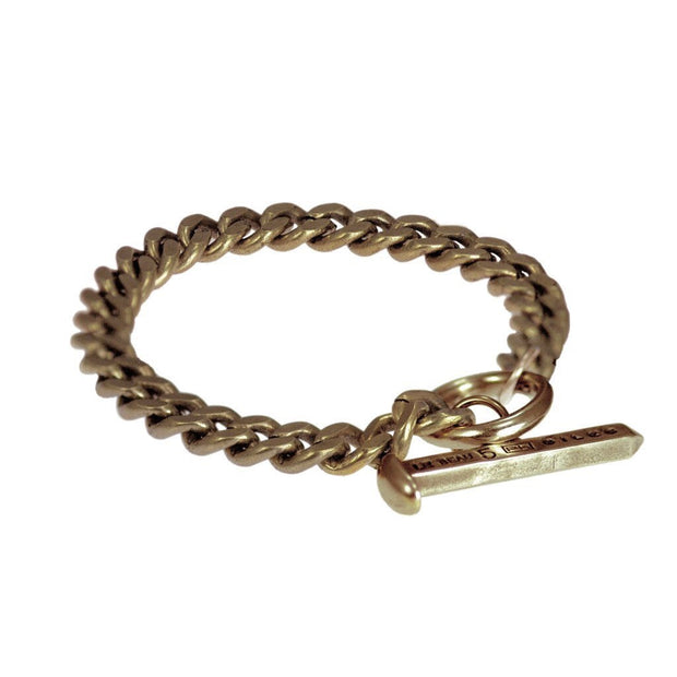 Spike Toggle Chain Bracelet - Brass