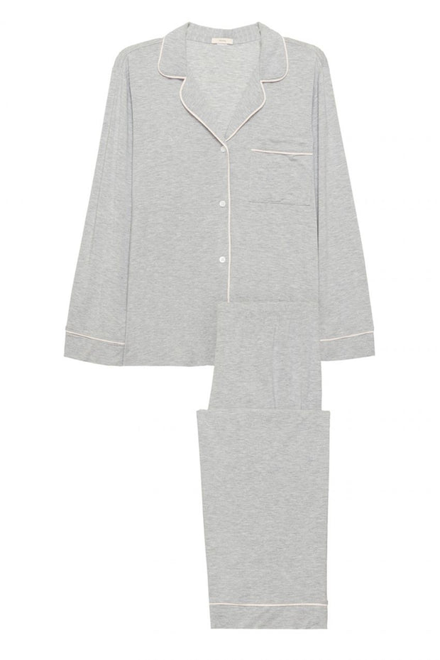Heather Gray long pajama shirt and pants with white piping details and white buttons