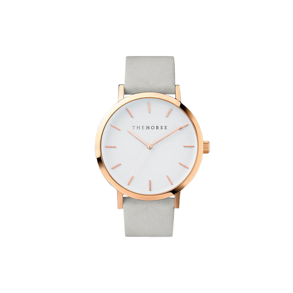 The Original Grey Band with White Dial, Rose Gold