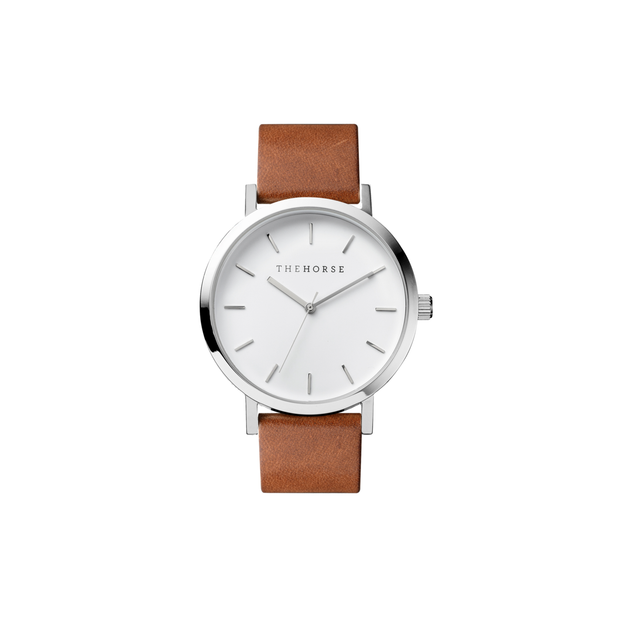 The Original Tan Band with White Dial, Polished Steel
