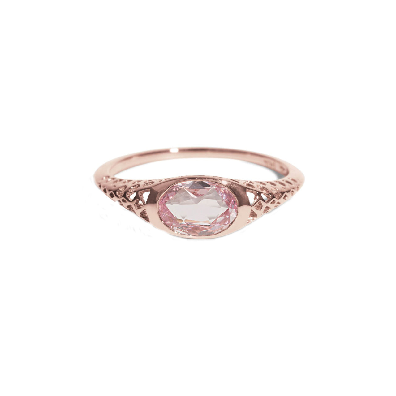 Filigree Rose Cut Pink Sapphire Oval Ring