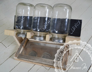 Wood Sprout Growing Stand with Drip Tray , 3 Jar Holder , Chalk Board Backing