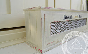 Farmhouse Style Wood Bread Box 28 x 9 x 7 with Distressed Finish