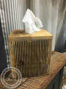Square Natural Wood Tissue Box Cover , Reclaimed Wood , Vintage Style