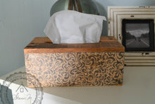 Load image into Gallery viewer, Wood Tissue Box Cover , Recycled Wood , Gray Vintage Pattern