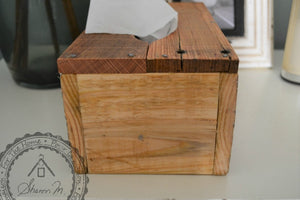 Wood Tissue Box Cover , Recycled Wood , Gray Vintage Pattern