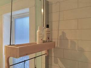 Red Cedar Shower Caddy Single Shelf with Steel Bar and Hooks and Optional Soap Holder