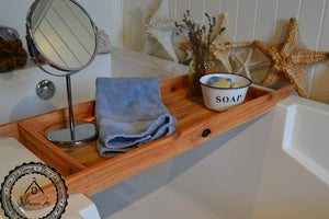 "Rustic Wood Bath Tray Recycled Wood 12"" Wide"