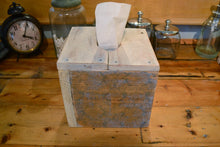 Load image into Gallery viewer, Square Natural Wood Tissue Box Cover , Reclaimed Wood , White and Blue