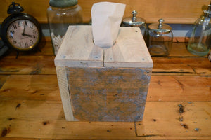 Square Natural Wood Tissue Box Cover , Reclaimed Wood , White and Blue